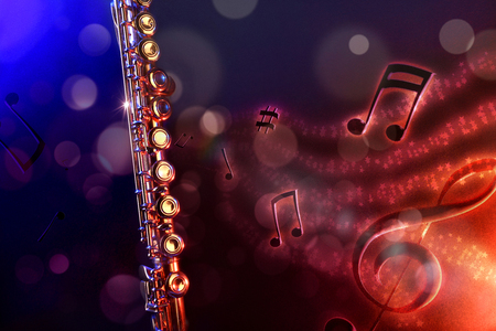 Conceptual illustration transverse flute with flying notes, brightness and black red and blue background. Front view. Horizontal composition.