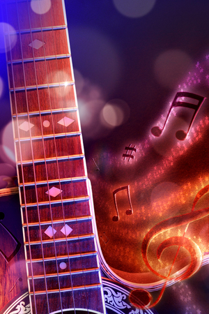 Conceptual illustration acoustic guitar music with flying notes, brightness and black, red and blue background. Front view. Verticalcomposition.
