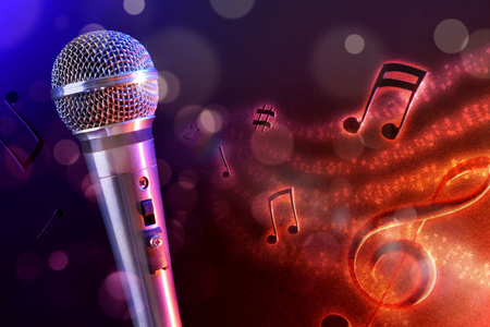 scenical: Conceptual illustration microphone with flying notes, brightness and red and blue background. Front view. Horizontal composition.