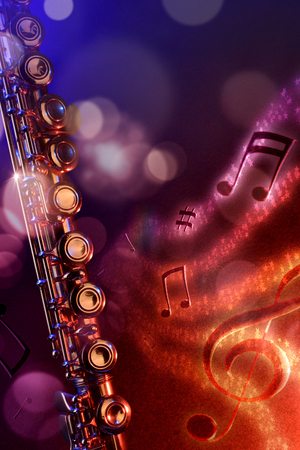 Conceptual illustration transverse flute with flying notes, brightness and black red and blue background horizontal. Front view. Verticalcomposition.