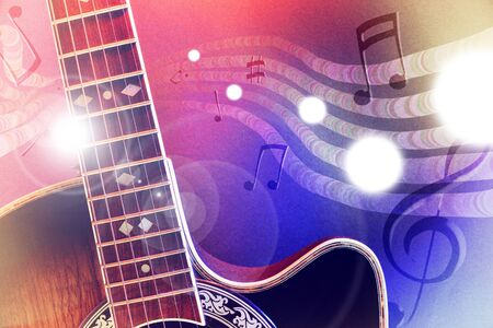 Conceptual illustration acoustic guitar music with flying notes, brightness and red and blue lights. Front view. Horizontal composition. Stock Photo