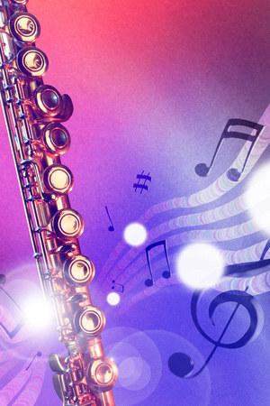 illustration conceptuelle flûte traversière avec des notes de vol, la luminosité et les lumières rouges et bleues. Vue de face. composition verticale. Banque d'images