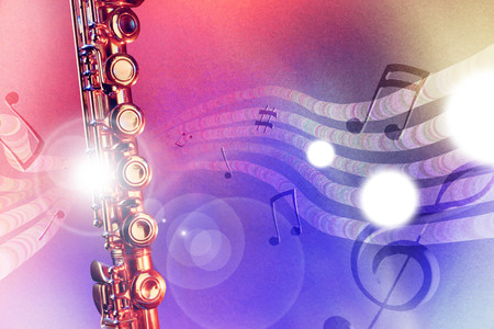 Conceptual illustration transverse flute with flying notes, brightness and red and blue lights. Front view. Horizontal composition.