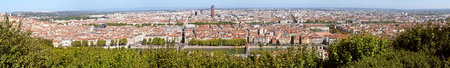 Lyon super panoramic view from the hill of fourviere in france. Panoramic view