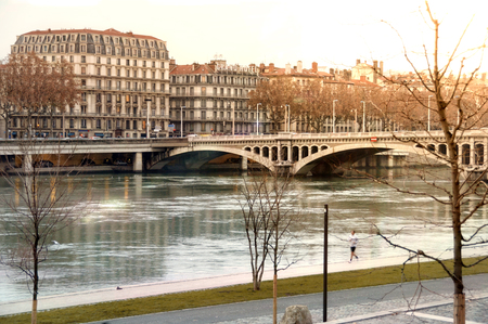 View bridge Wilson in winter on the river Rhone in Lyon France. Horizontal composition