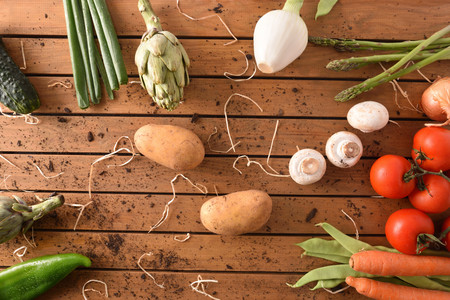 Assortment of vegetables on wood table. Horizontal composition. Top view Stock Photo