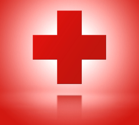 malady: Red cross as a symbol of medical health with reflex. Frontal view Stock Photo
