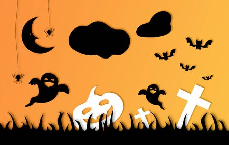 Halloween card composition with holiday motifs in black and orange gradient background. Horizontal composition.