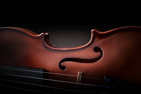 Violin body and strings detail isolated black background. Front view. Horizontal composition.