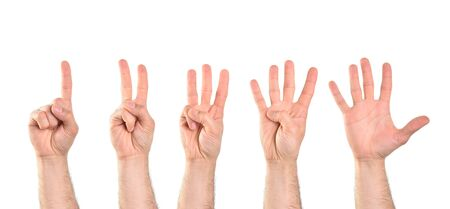 Count to five with five hands starting with the index finger with white isolated background. Horizontal composition.