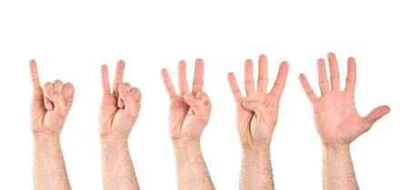 Count to five with five hands starting with the little finger with white isolated background. Horizontal composition.