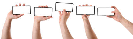 Set of various views of caucasian man hands with dark mobile phone picked up horizontally and white screen