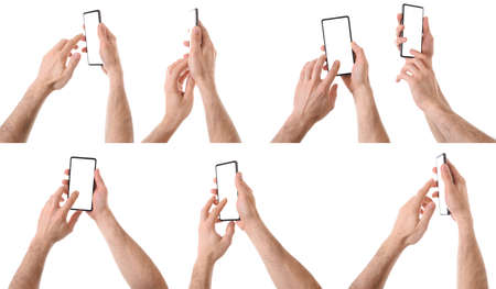 Set of various views of Caucasian man interacting phone with two hands Imagens
