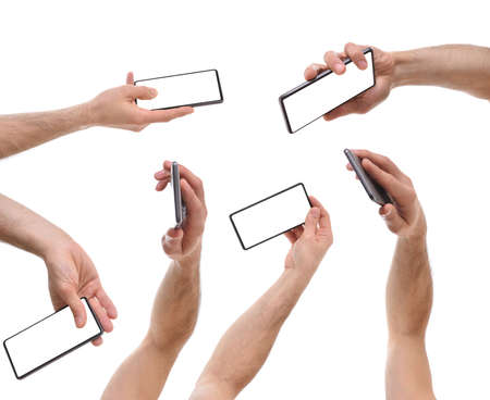 Set of hands picking up a mobile phone in various ways white isolated background