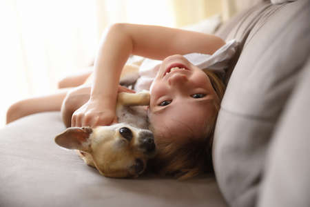 Laughing girl lying with her dog on the sofa looking at camera Imagens