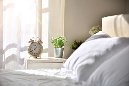 Sunny sleeping room without people with white bedding in the morning with decorated table with alarm clock and plants with window with sunbeam