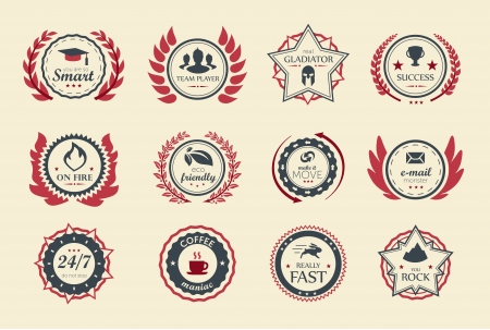 laurels: Achievement badges for games or applications. Two shades of color.