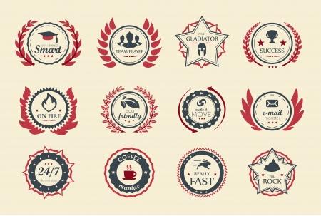 Odznaki za osiągnięcia dla gier lub aplikacji. Dwa odcienie koloru.