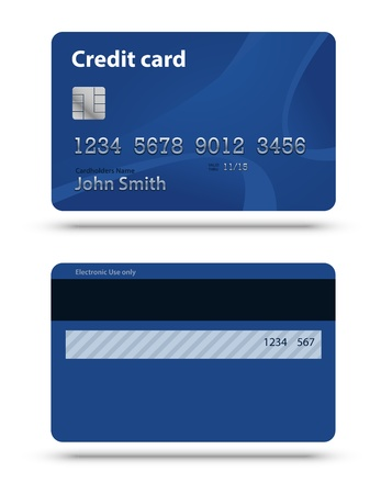 mastercard: Blue credit card isolated on white with shadows. Two sides. Illustration
