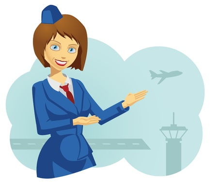 stewardess: Illustration of a lovely stewardess Illustration