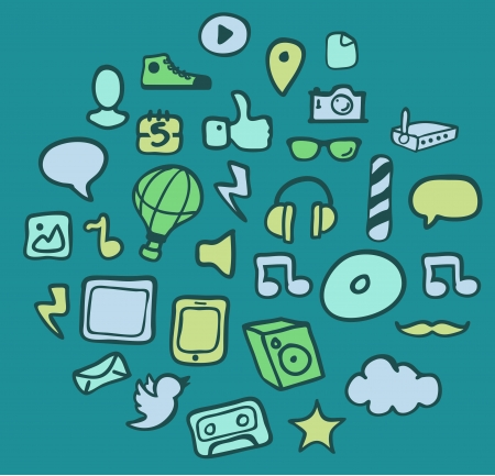 Handmade Media Icon set on blue background. Stock Vector - 20227096