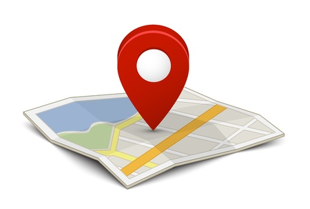 red pin: Map with a pin isolated on white Illustration