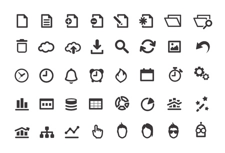 Document Simple Icons Set Vector