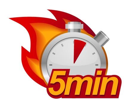 Vijf minuten timer met vuur op de achtergrond