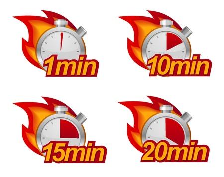 1 minuut, 10 minuten, 15 en 20 minuten timers met vuur op de achtergrond Stock Illustratie