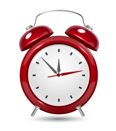 Red alarm clock close up on white Stock Vector - 20472297