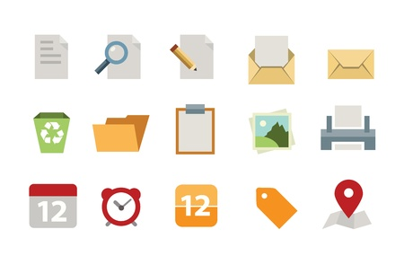 Flat document icon set