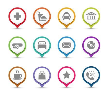 Points d'intérêt Carte épingles à différents endroits icônes