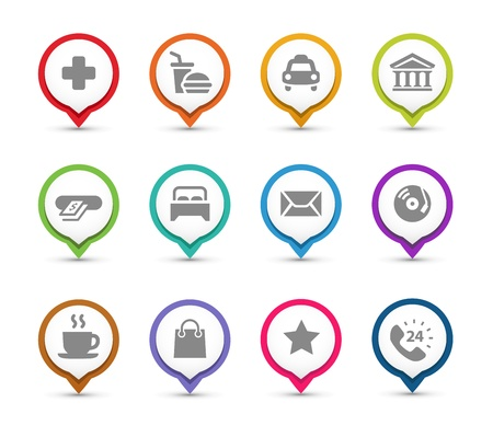 Points of interest  Map pins with different places icons  Illustration