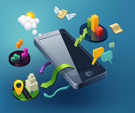 Smartphone Ilustracja - Komunikacja Streszczenia, Media, Nawigacja, Gry, Cytaty