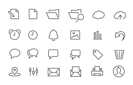 Simple Stroked document icon set Vector