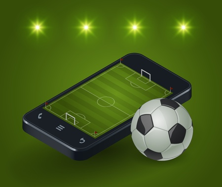 Modern smartphone with a soccer field on the screen and the lights around. Vector