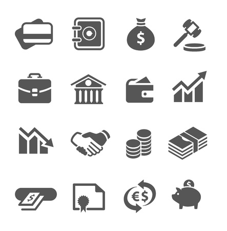Proste ikony finansowych zestaw 16 symboli Ilustracja