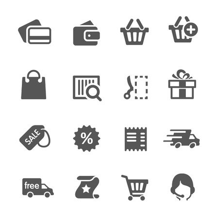 e wallet: Simple shopping icons  A set of 16 symbols