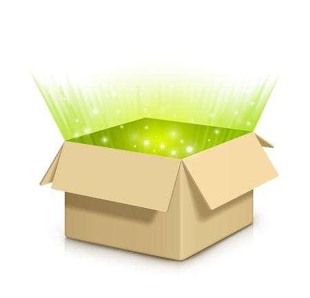 Brown box with something shiny inside EPS 10 Fully transparent Any background can be used Vector Illustration