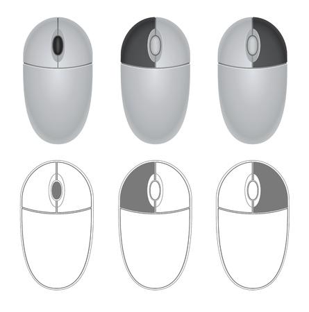 Ilustracja myszy ze wskazaniem różnych przycisków Ilustracja