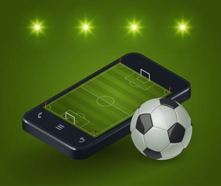 Nowoczesny smartfon z boiska do piłki nożnej na ekranie i światła wokół Ilustracja