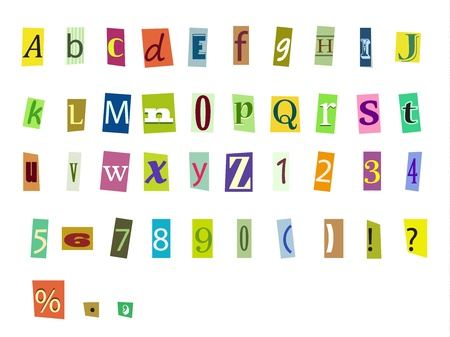 typesetter: Newspaper magazine alphabet with letters and numbers
