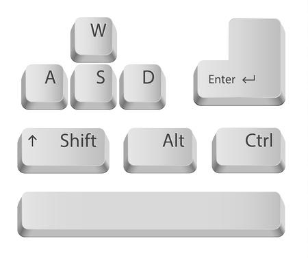 Les principaux boutons du clavier pour les jeux ou les applications isolé sur blanc