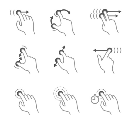 technology symbols metaphors: Simple touch pad gestures icons isolated on white