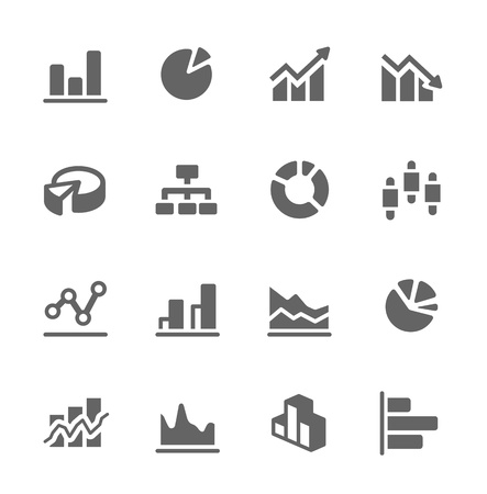 crecimiento: Iconos vectoriales relacionadas simple conjunto de diagramas y gráficos para el diseño