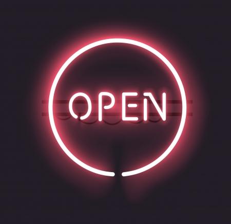 offen: Classic Open Leuchtreklame mit Farbverlauf Mesh Volltransparent kann jeder dunklen Hintergrund verwendet werden