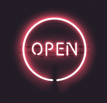 Classic OPEN neon sign with gradient mesh  Fully transparent, any dark background can be used  Illustration