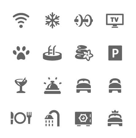 Simple icon set include main hotel features  Vector