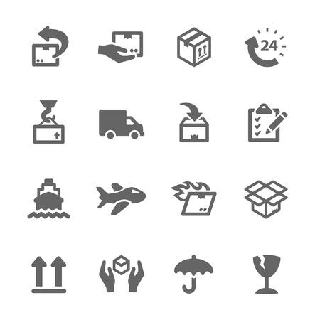 Prosty zestaw ikon związanych z wysyłką i logistyki