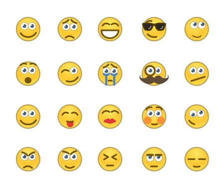 making face: Set of 20 emotion related icons  Illustration
